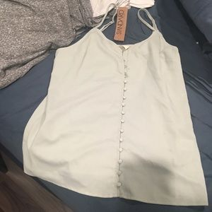 People's project pale green button up tank top